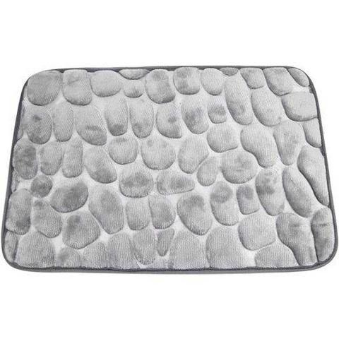 Imagem de Tapete para Banheiro Formato Pedrinhas Cinza