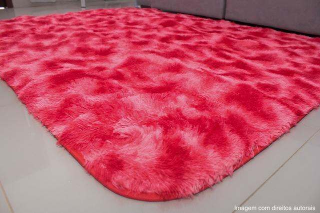 Imagem de Tapete para sala peludo felpudo 1,40x1,00 Vermelho Mesclado
