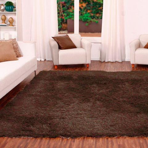 Imagem de Tapete para Sala Shaggy Requinte Casa Dona 100x150cm Caramelo