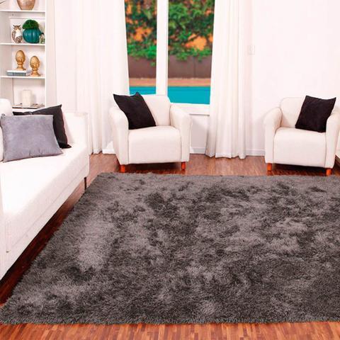 Imagem de Tapete para Sala Shaggy Requinte Casa Dona 100x150cm Cinza