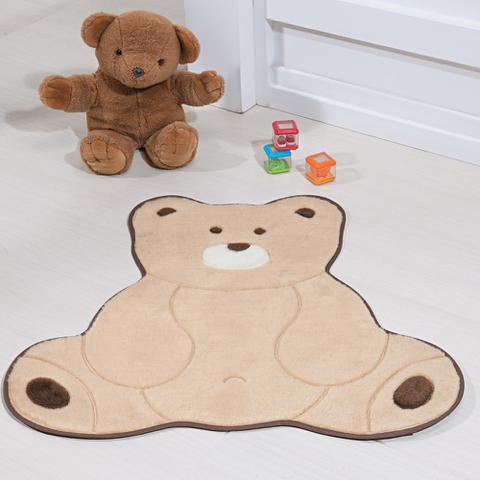 Imagem de Tapete Quarto de Bebê Pelúcia Urso Fofo Base Antiderrapante