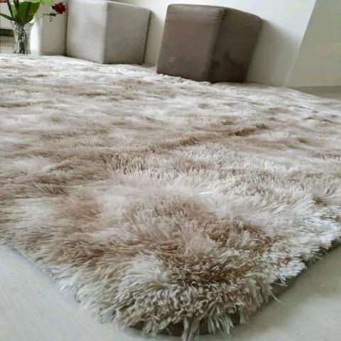 Imagem de Tapete sala quarto peludo felpudo luxo macio 2,00 x 1,40 m Bege Mesclado
