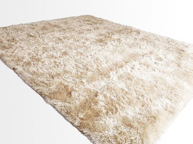 Imagem de Tapete Saturs Shaggy Pelo Alto Pérola Nude - 150 x 200 cm Tapete para Sala e Quartos