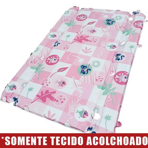 Imagem de Tecido Acolchoado para Trocador da Banheira Burigotto Millenia com Furos de Fixação - Peixinho Rosa