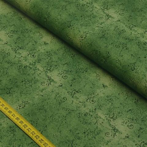 Imagem de Tecido Estampado para Patchwork - 50 Tons Arabesco Verde Escuro Cor 29 (0,50x1,40)