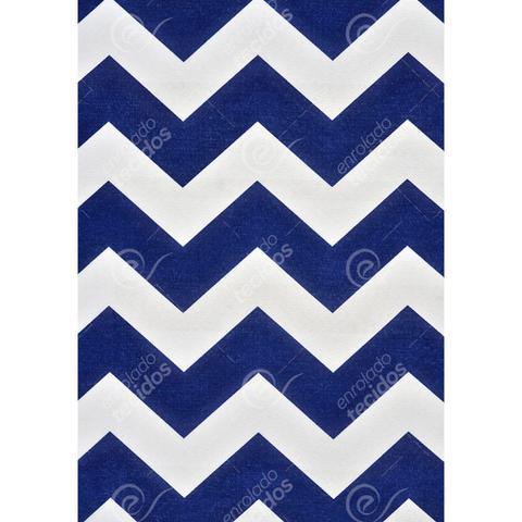 Imagem de Tecido Gorgurinho Chevron Azul Marinho e Branco - 1,50m de Largura