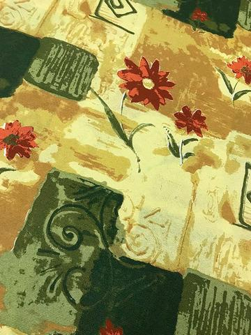 Imagem de Tecido para decoração Gorgurinho abstrato floral bege e verde