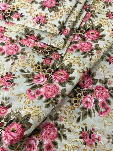 Imagem de Tecido para decoração Gorgurinho floral vintage bege e rosa