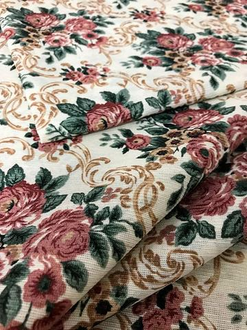 Imagem de Tecido para decoração Gorgurinho floral vintage bege e vinho