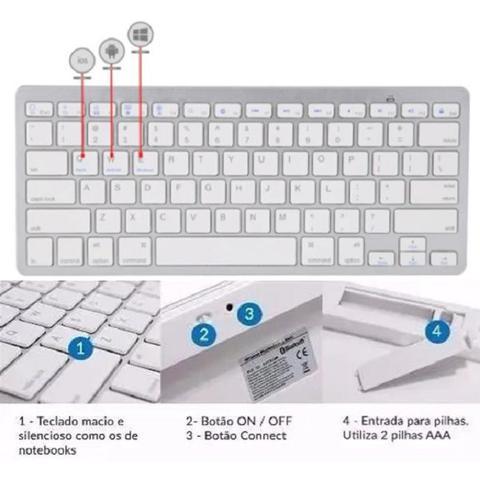 Imagem de Teclado Bluetooth sem fio para Pc Tablet Smartphone Branco