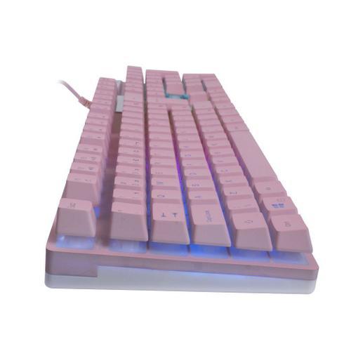 Imagem de Teclado Gamer Prismatic Pink Semi Mecânico Com Comando por Voz TC205 OEX