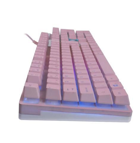 Imagem de Teclado Gamer Usb Semi Mecânico Prismatic Com Led Multicolor Oex Tc205 PINK