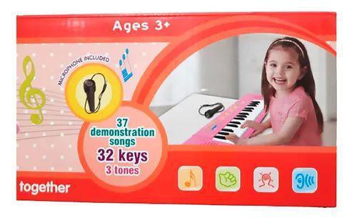 Imagem de Teclado infantil a pilha com microfone rosa