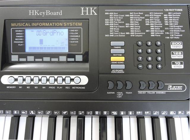 Imagem de Teclado Musical Arranjador 61 Teclas HK 812 - Profissional Sensitive + USB  + Suporte Pedestal+Fonte