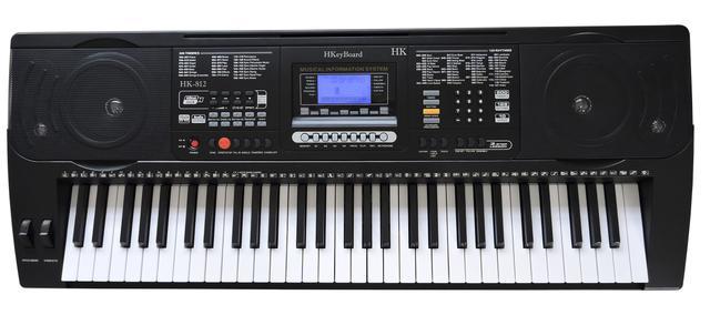 Imagem de Teclado Musical Arranjador 61 Teclas HK 812 - Profissional Sensitive - USB -  Visor Lcd + Fonte
