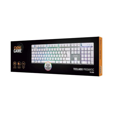 Imagem de Teclado OEX, Prismatic, TC-205, Membrana, RGB, Aço, USB, Branco