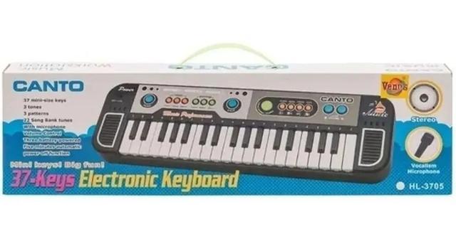 Imagem de Teclado Piano Instrumental Musical Com Microfone Infantil.