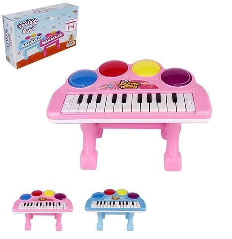 Imagem de Teclado / piano musical infantil baby colors com apoio + luz a pilha na caixa wellkids
