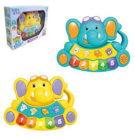 Imagem de Teclado / piano musical infantil baby elefante com luz a pilha na caixa