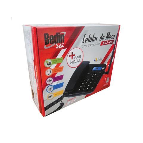 Imagem de Telefone Celular Rural de Mesa Bedin Sat BDF-02 Quadri Band Dual Chip com Rádio FM