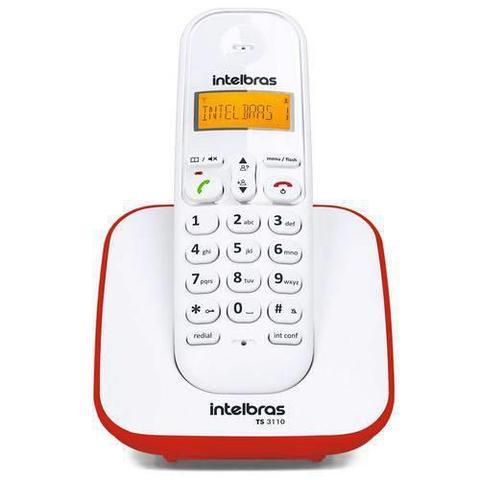 Imagem de Telefone Intelbras Sem Fio Ts 3110 Branco/Vermelho