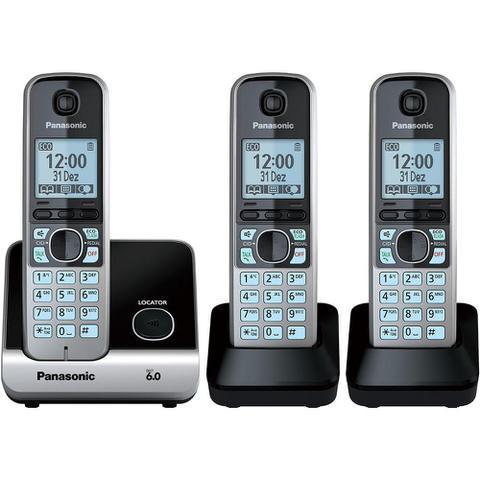 Imagem de Telefone Panasonic Sem Fio Base + 2 Ramais Com Backup De Energia Kx-Tg6713Lbb