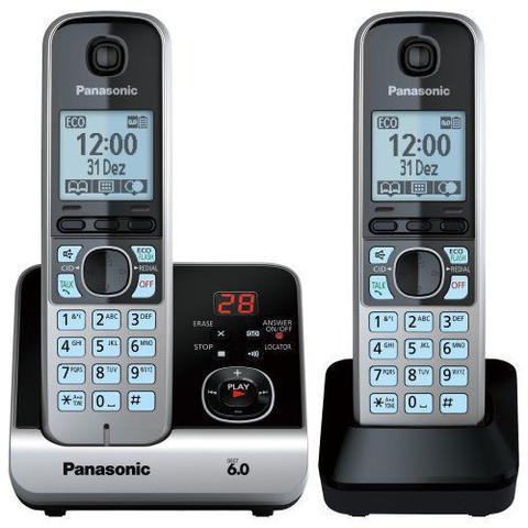 Imagem de Telefone sem Fio com Base + Ramal KX-TG6722 PRETO/PRATA Panasonic