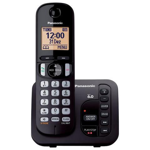 Imagem de Telefone Sem Fio Com Secretária Eletrônica e ID Panasonic DECT 6.0 Preto - KX-TGC220LBB