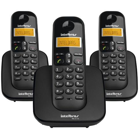 Imagem de Telefone Sem Fio IntelBras TS3113 Preto, com Identificador de Chamadas + 2 Ramais - 4123103