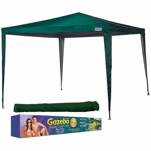 Imagem de Tenda gazebo 3mx3m poliester oxford verde com silvercoating para praia camping com sacola mor