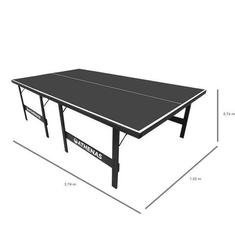 Imagem de Tênis de Mesa Ping Pong Athenas 15 mm MDF Pés Dobráveis + Kit Raquetes, Bolinhas e Rede