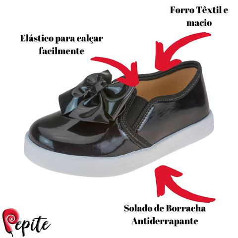 Imagem de Tênis Infantil Feminino Slip On Menina com Elástico Moda Casual Escolar Calce Fácil Laço