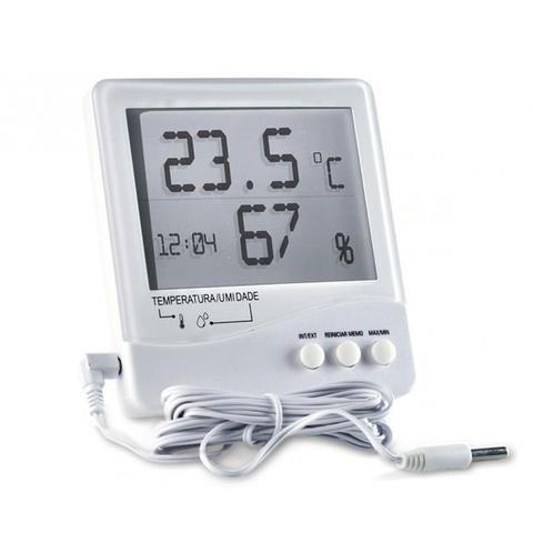 Imagem de Termo-higrômetro temperatura interna e externa com relógio e cabo removivel Incoterm