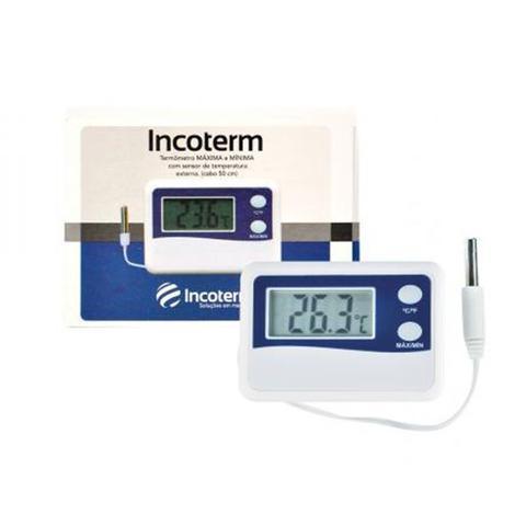 Imagem de Termômetro digital com função máxima e mínima com cabo de 2 metros -50 A +70 incoterm