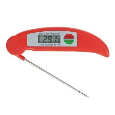 Imagem de Termômetro Digital Culinário Cozinha Dobrável Alta Precisão Padaria Confeitaria Alimentos - Vermelho