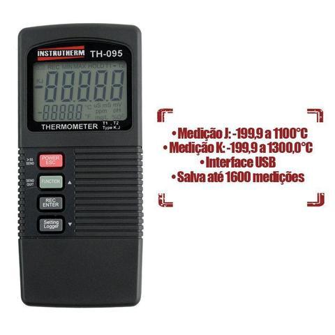 Imagem de Termômetro Digital Portátil Tipo K e J c/ Saída RS-232 e Datalogger  Mod TH-095