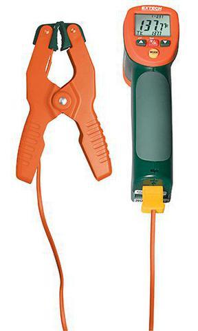 Imagem de Termômetro Infravermelho de ampla faixa com entrada tipo K e braçadeira de tubo Extech 42515-T