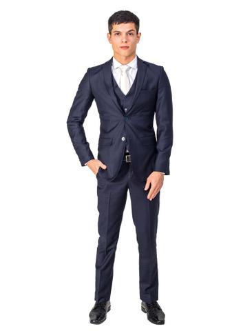Imagem de Terno Slim Masculino Oxford Azul Marinho