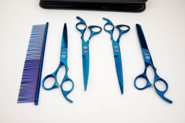 Imagem de Tesoura pet de tosa Kit 4 tesouras e 1 pente Blue