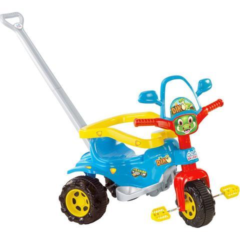 Imagem de TicoTico Triciclo Dino Azul Motoca Infantil com Haste Acessórios mais Adesivo