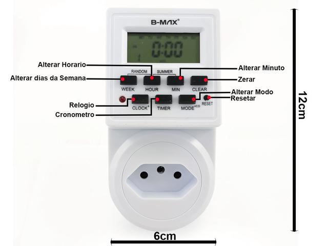 Imagem de Timer Temporizador Digital LCD Tomada Bivolt 2.200w 10a