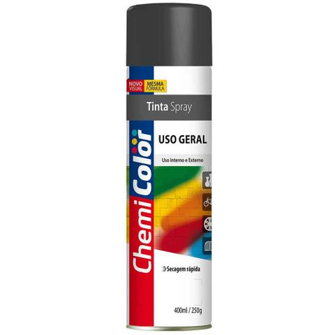 Imagem de Tinta Spray Uso Geral Preto Brilhante 400Ml Chemicolor