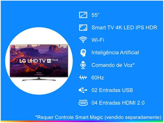 "Imagem de Smart TV 4K LED 55"" LG 55UK6540 Wi-Fi HDR"