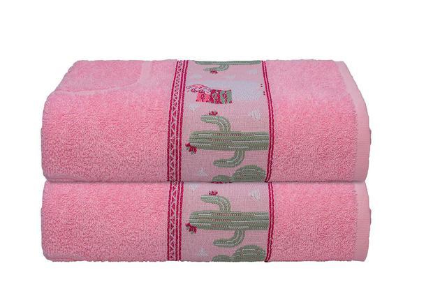 Imagem de Toalha de Banho Infantil Menina Rosa Lhama Camesa 70x130cm