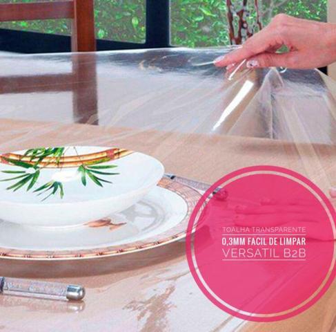 Imagem de Toalha De Mesa Plastico Transparente Impermeável 2,00 X 1,40 Pronta Entrega