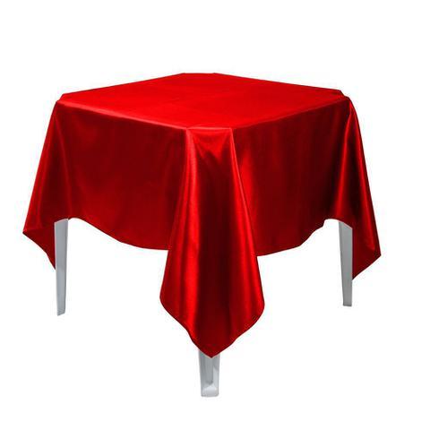 Imagem de Toalha De Mesa Quadrada De Cetim Vermelha 1,50x1,50 Festa Buffet