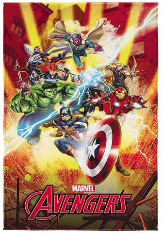 Imagem de toalha infantil menino aveludada transfer Avengers estampado heróis dos quadrinhos da Marvel