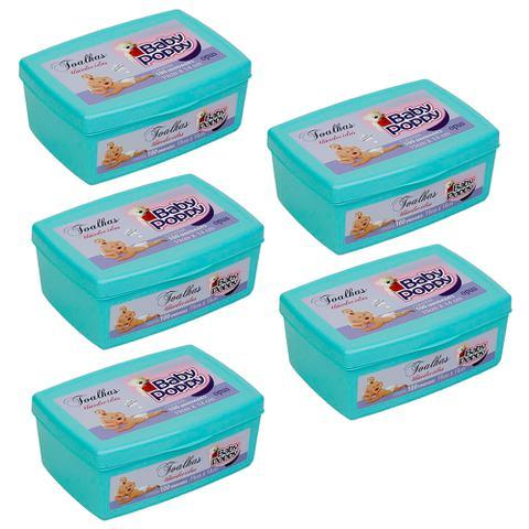 Imagem de toalhas lenços umedecidos baby poppy premium mais encorpada kit 5x100 (500 toalhas) pote