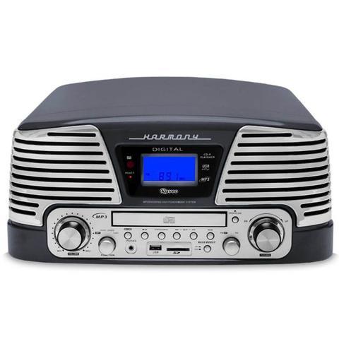 Imagem de Toca Discos Vintage Anos 50 Raveo Harmony Bluetooth, AM/FM, CD Player, USB, SD, Gravação Titanium