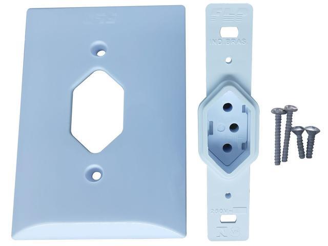 Imagem de Tomada Simples 2p+t 10A Com Placa Espelho Branco Com Inmetro